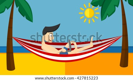 man chilling using laptop in a hammock on beach under two coconuts tree,cartoon flat style. Dream work, The best work, Work with pleasure. Working outdoor. - stock vector