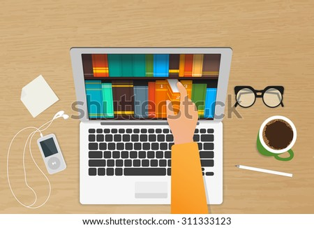 Man chooses eBooks in the Internet store from his laptop placed on the realistic wooden table - stock vector