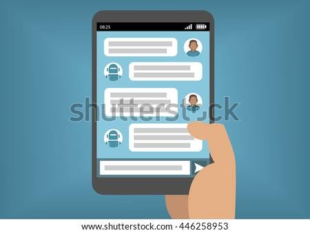 Man communicating with chat bot via instant messenger as an example of artificial intelligence - stock vector