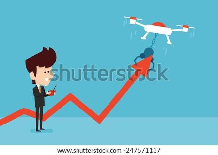 man control stock chart. - stock vector
