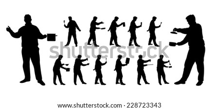 man cooking vector silhouettes with different pots pans and kitchen utilities - stock vector