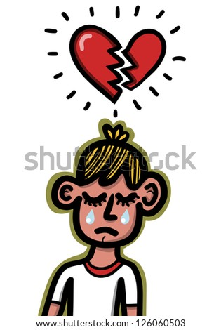man crying with divided heart - stock vector