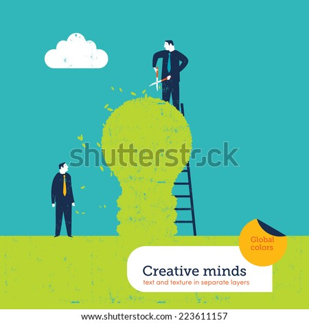 Man cutting a hedge bulb. Vector illustration Eps10 file. Global colors. Text and Texture in separate layers. - stock vector