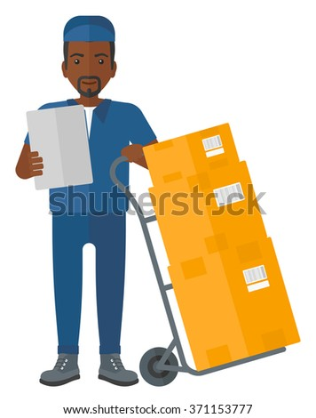 Man delivering boxes. - stock vector