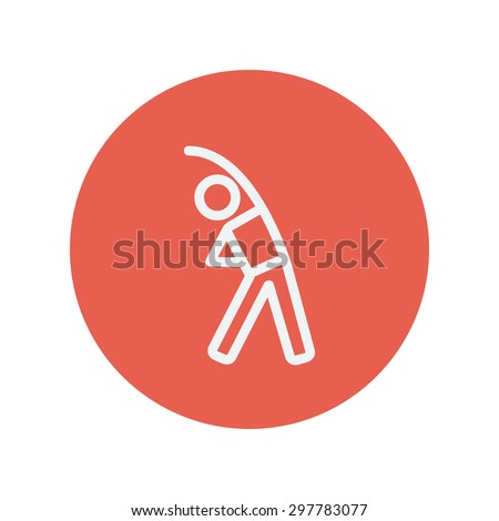 Man do stretching thin line icon for web and mobile minimalistic flat design. Vector white icon inside the red circle. - stock vector