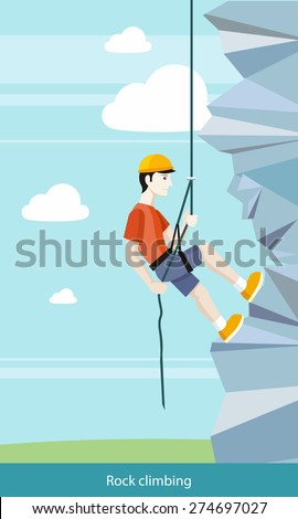 Man doing rock climbing. Young boy climber climbs up the cliff with a rope and accessories for climbers. Can be used for web banners, marketing and promotional materials, presentation templates  - stock vector