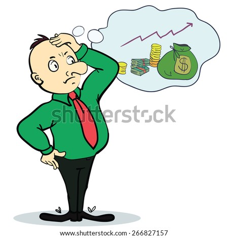 Man dream about money. Concept cartoon illustration. Vector - stock vector