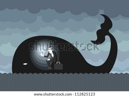 Man dressed on a business man style inside a whale like Jonah, lighting himself with a lighter. Hoping and waiting for better times. - stock vector