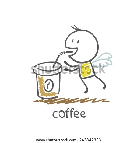 man drinking coffee, from which he grows wings illustration - stock vector