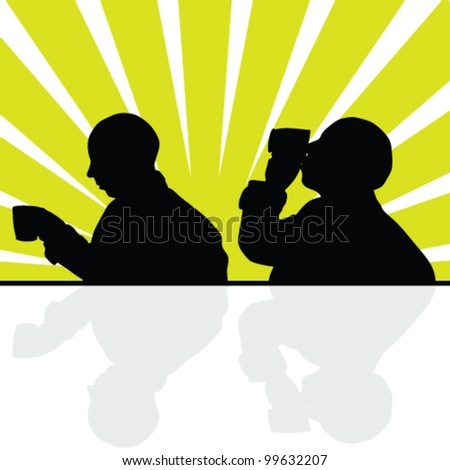 man drinking from a cup silhouette vector illustration - stock vector
