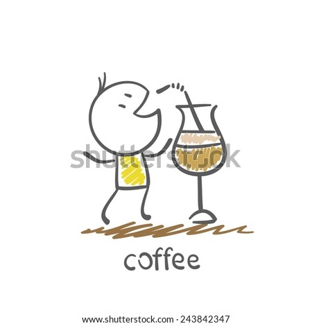 man drinks coffee from the straw illustration - stock vector