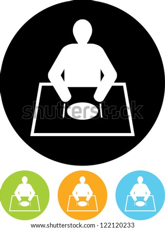 Man eating at table Vector icon isolated - stock vector