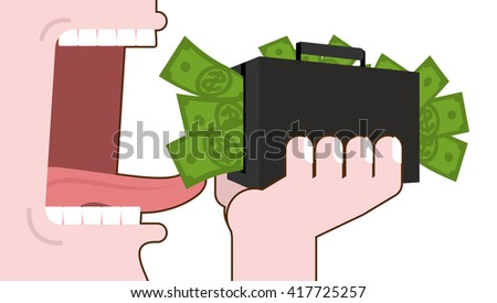 Man eating money. Destruction of suitcase with cash. Open mouth with tongue and teeth. Consumption of dollars. Elimination of budget   - stock vector