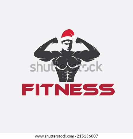 man fitness silhouette character with merry christmas hat - stock vector