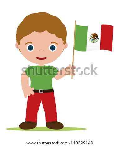 man from mexico with flag - stock vector