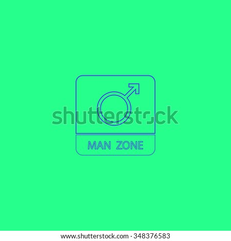 man gender Simple outline vector icon on green background  - stock vector