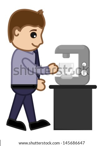 Man Getting Coffee from Coffee Machine - Vector Illustration - stock vector