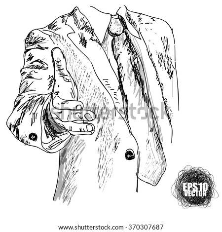 Man give a hand for shake to make a deal  - stock vector