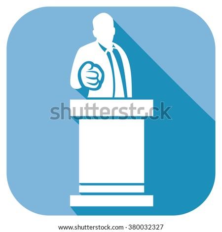 man giving speech at rostrum flat icon (orator speaking at a podium, politician pointing to the viewer)  - stock vector