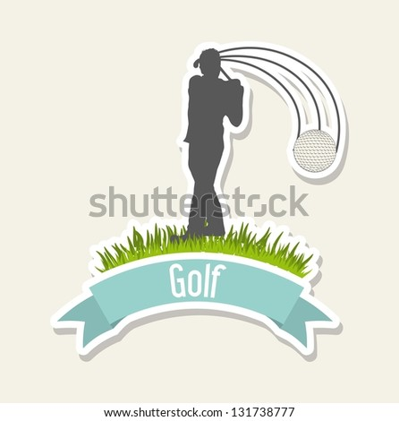 man golfer over beige background, golf. vector illustration - stock vector