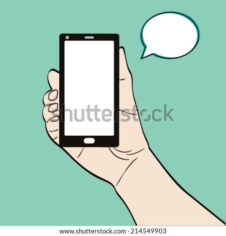 Man hand holding a smart phone on a green background - stock vector
