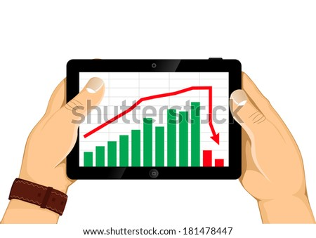 Man hands are holding the modern digital tablet pc with break down chart  on a screen. Isolated on white. - stock vector