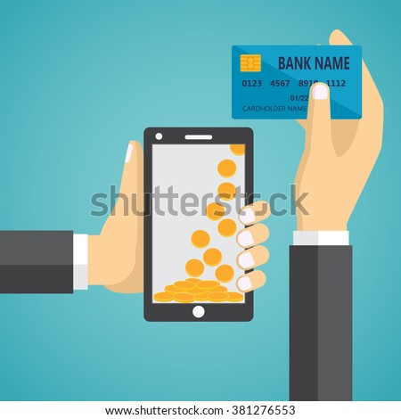 Man hands holding mobile phone and credit card. Concept of mobile payment app, payments application system, money transfer. - stock vector