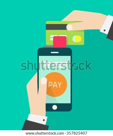 Man hands holding mobile phone, credit card vector illustration, concept of mobile payment app, smartphone communication, payments application system, money transfer, modern design isolated on green - stock vector