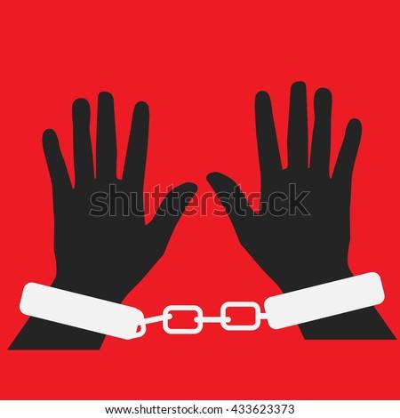 Man hands in strained steel handcuffs.Vector illustration - stock vector