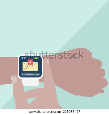 Man hands with smart watch on light blue background. Vector illustration. - stock vector