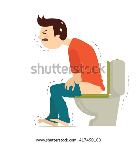Man have problem with hemorrhoids in toilet. Vector illustration character design.  - stock vector