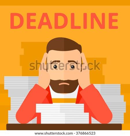Man having problem with deadline. - stock vector