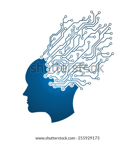 Man Head circuit logo. Abstraction of thinking mind. This image serves as idea of technology, mind, working think, memory training, brain system, psychology, knowledge,searching - stock vector