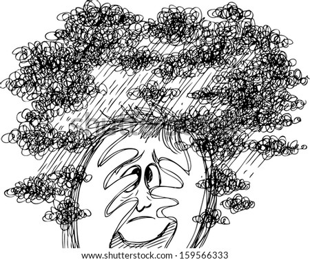 Man head full of stormy clouds. Concept illustration about stress and depression. - stock vector