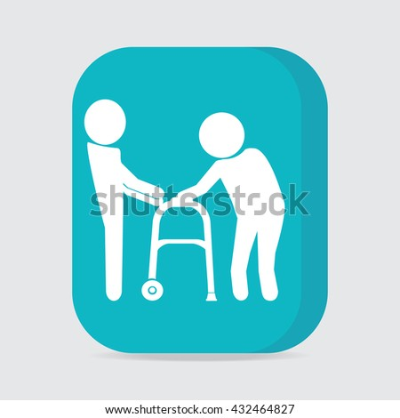 Man helps elderly patient with a walker, button vector illustration - stock vector