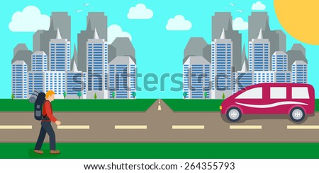 man hiker with backpacks walking near the road against the background of city landscape hitchhiking traveler concept. vector illustrations  - stock vector