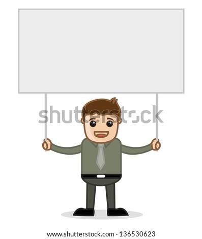 Man Holding a Banner - Office and Business People Cartoon Character Vector Illustration Concept - stock vector