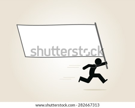 man holding a blank sign, empty banner, pay attention, announcement, communication, promotion, publicity  - stock vector