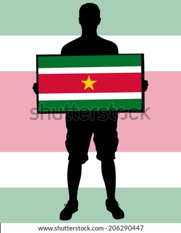 man holding a flag of Suriname  - stock vector
