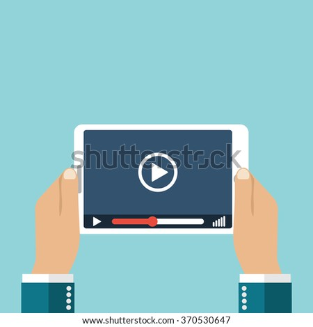 Man holding a tablet computer with a video player. Marketing concept in flat style. Vector illustration, flat design. Background for web and mobile applications - stock vector