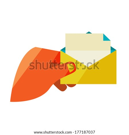 Man holding an envelope with a letter. Flat design modern vector illustration stylish colors of hand holding a business card  - stock vector
