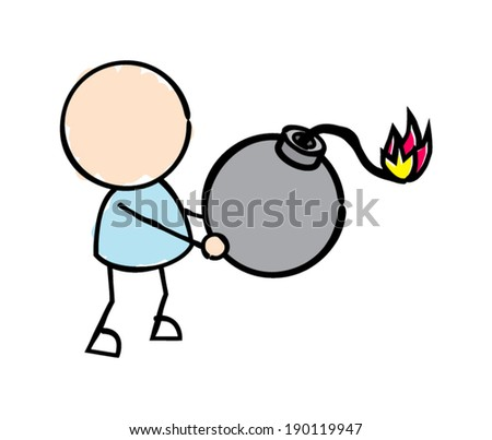 Man Holding Bomb  - stock vector