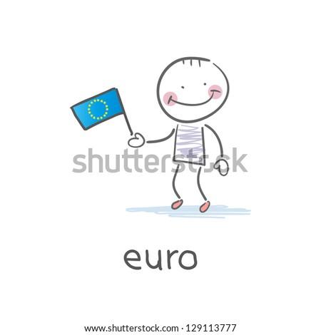 Man holding euro flag. Illustration - stock vector