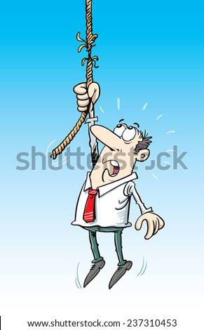 Man Holding Frayed Rope - stock vector