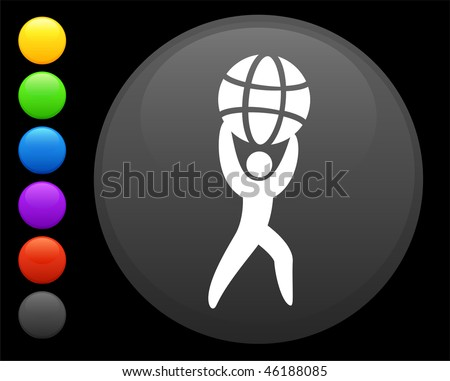 man holding globe icon on round internet button original vector illustration 6 color versions included - stock vector