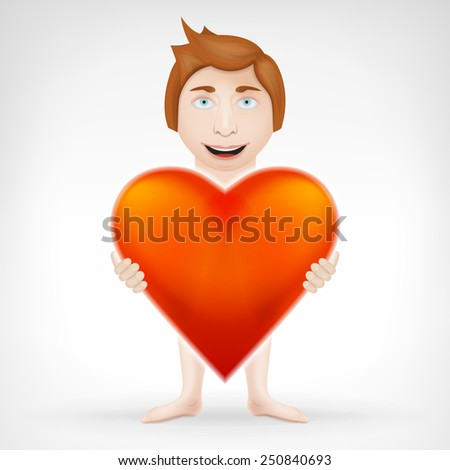 man holding his big red heart and looks for love concept vector graphic design isolated on white background - stock vector