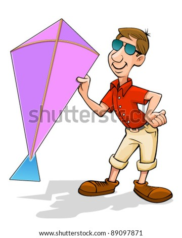 Man holding kite - stock vector