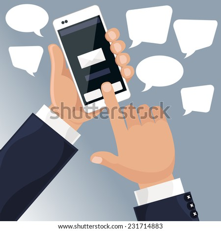 Man holding smartphone in his hand and sends message via sms chat cartoon flat design style - stock vector