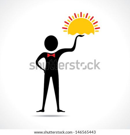 Man holding sun icon stock vector - stock vector