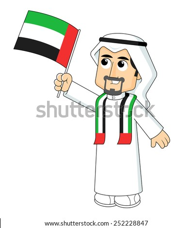Man Holding United Arab Emirates flag - stock vector